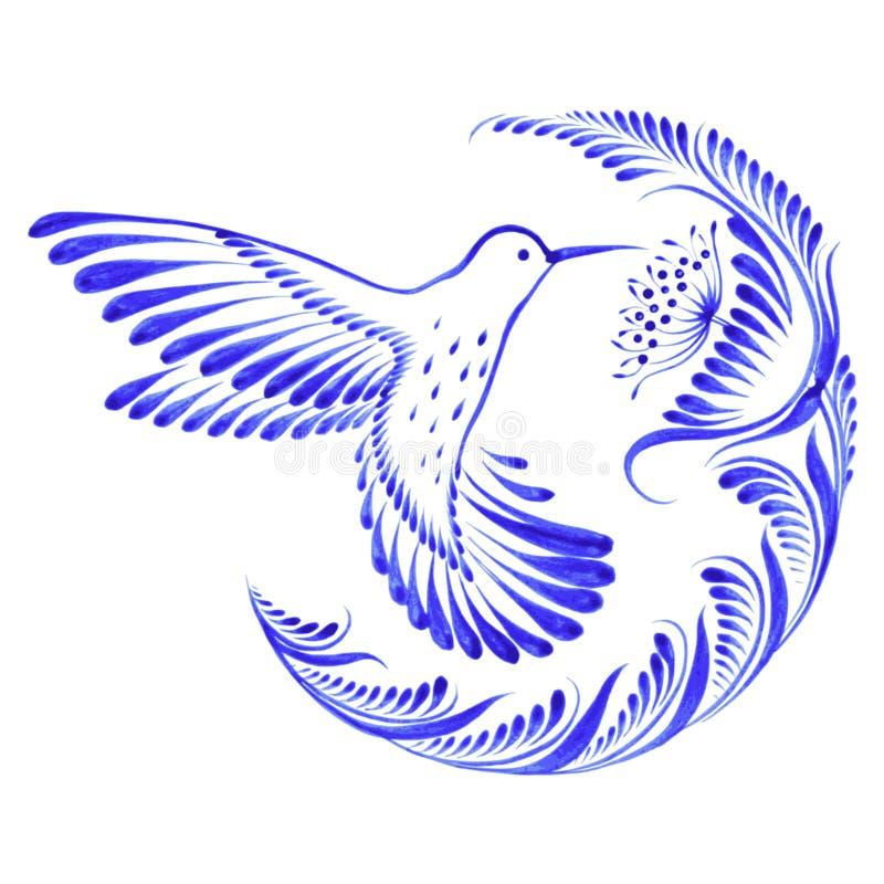 Colibrí decorativo floral del ornamento en vuelo ilustración del vector