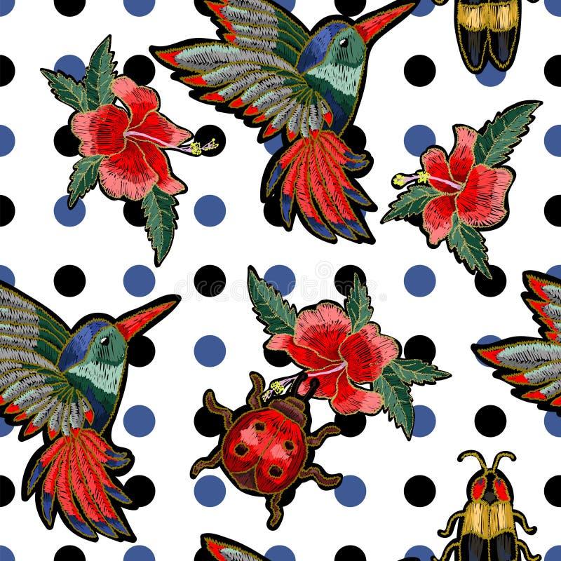 Colibrí del bordado, flores del hibisco, mariposa y mariquita ilustración del vector
