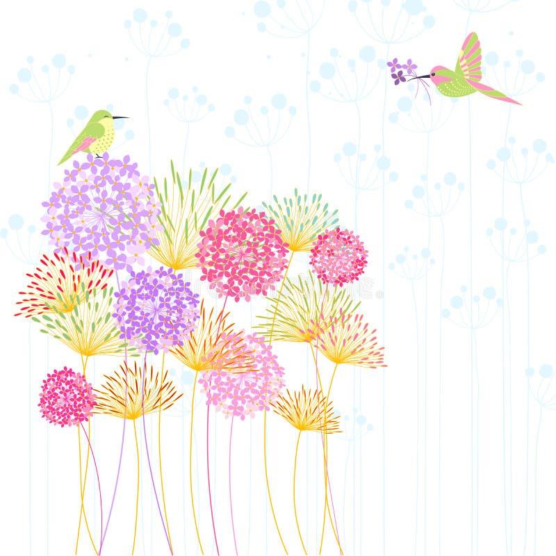 Colibrí y flor coloridos ilustración del vector