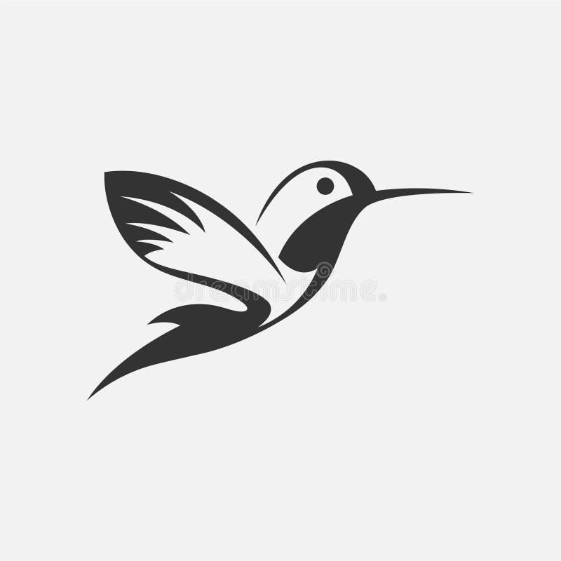 Colibri или значки птицы припевать Вектор изолировал комплект летящих птиц с крылами распространения flittering иллюстрация вектора