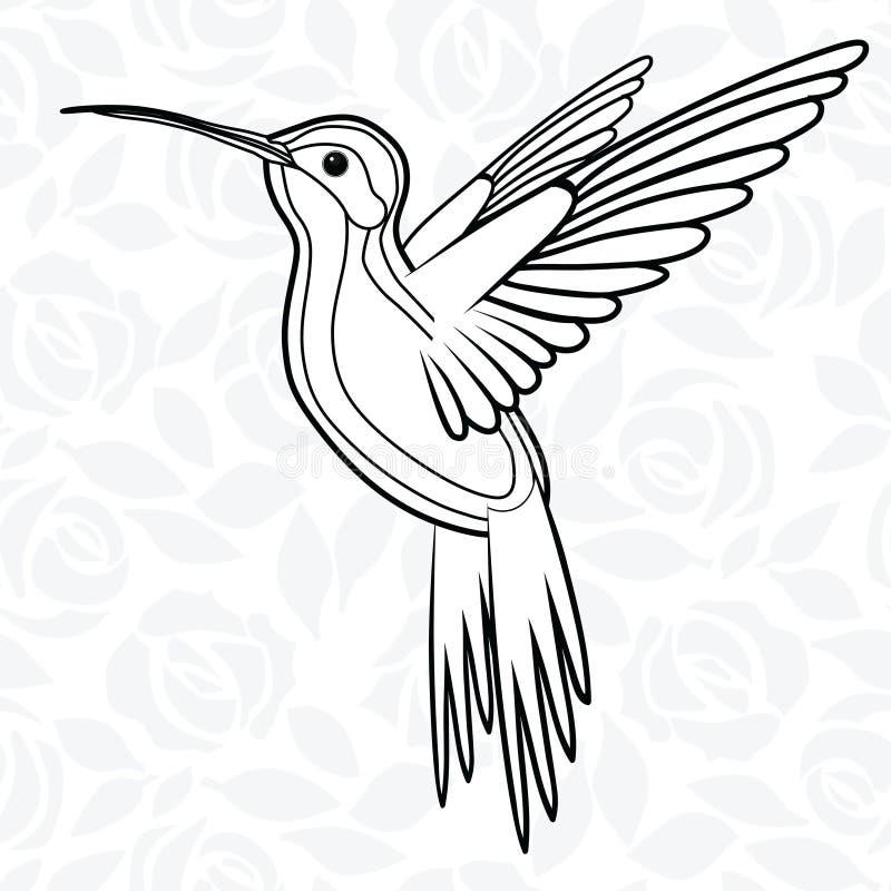 Colibri или колибри для логотипа, значка, футболки, талисмана, иллюстрации вектора плаката иллюстрация вектора