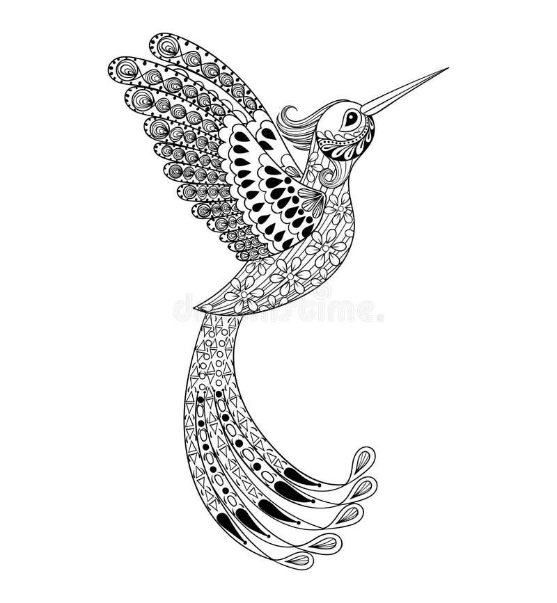 Colibri artisticamente tirado mão de Zentangle, triba do pássaro de voo ilustração royalty free