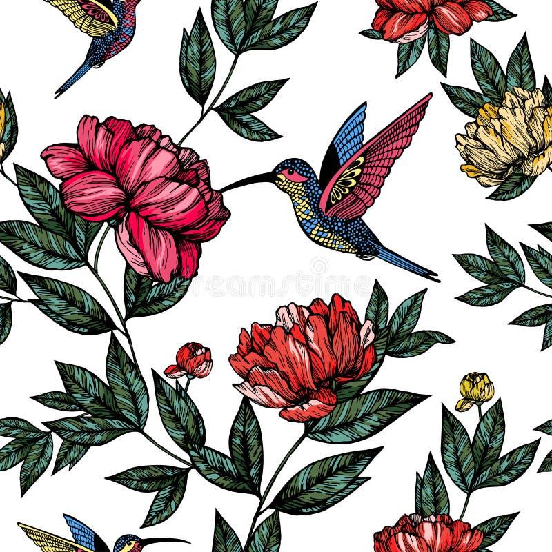 Colibri avec le modèle de fleurs images libres de droits