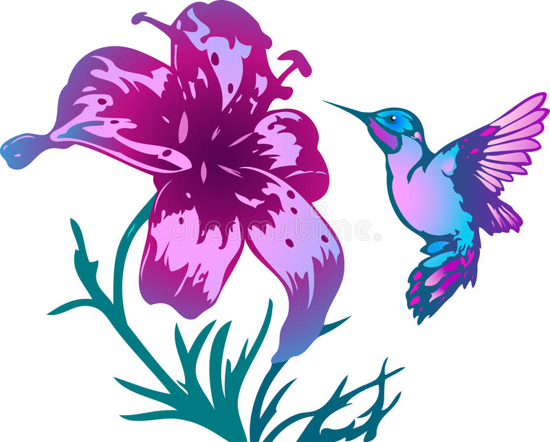 Colibri et fleurs tropicaux illustration de vecteur