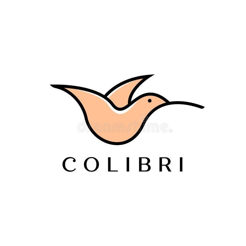 Colibri or hummingbird logo design with simple line art logo type vector illustration