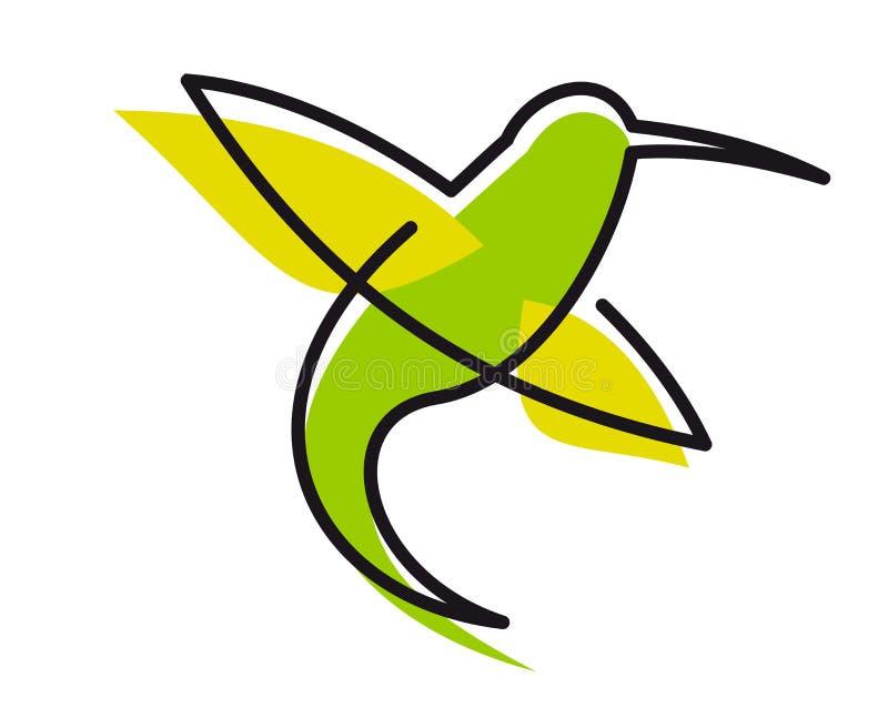Colibri verde gracioso ilustração stock