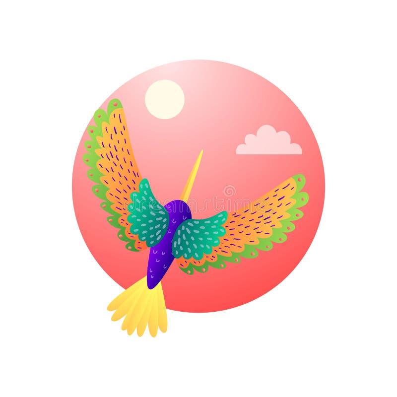 Colibris heterogêneos tropicais com voo da plumagem da cor no céu ilustração stock