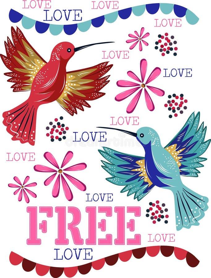 Colibris livres com flores bonitas e amor livre ilustração do vetor