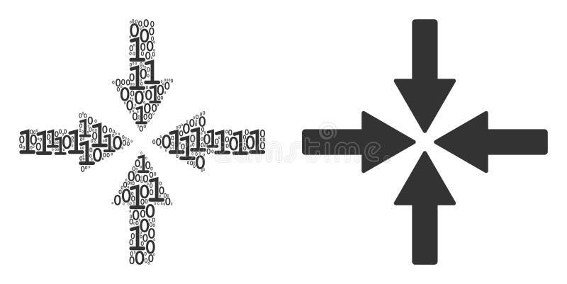 Colide o mosaico das setas de elementos binários ilustração do vetor