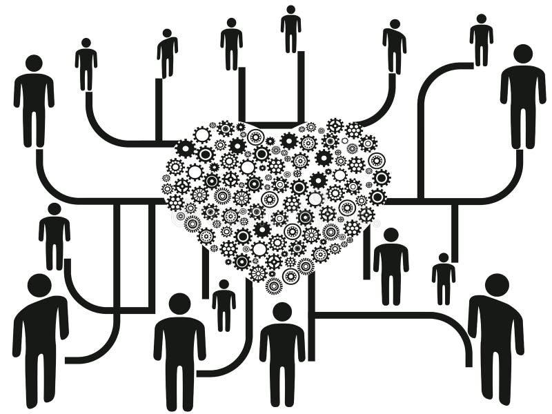 Coligação dos povos através do centro do coração ilustração stock