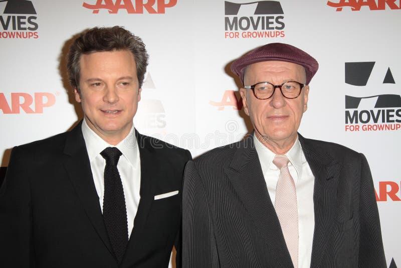 Colin Firth, Geoffrey Rush imagens de stock royalty free