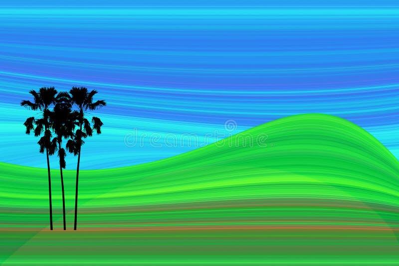 Colina abstracta del prado del arte con la palma de betel stock de ilustración