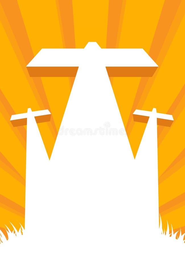 Crucifixión de Jesús - escena del calvary con la cruz tres stock de ilustración