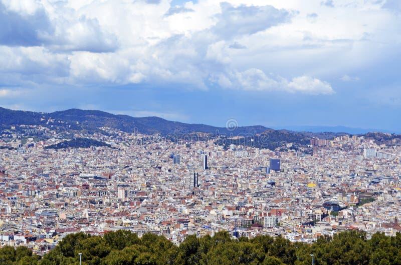 Colina de Front Montjuic, opini?n sobre Barcelona, Barcelone, Espa?a fotografía de archivo