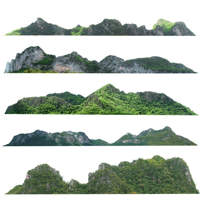 colina de la montaña de la roca de la colección con el aislante verde del bosque en el fondo blanco fotos de archivo