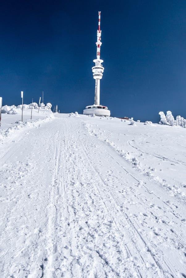 Colina de Praded en las montañas de Jeseniky del invierno en República Checa imágenes de archivo libres de regalías