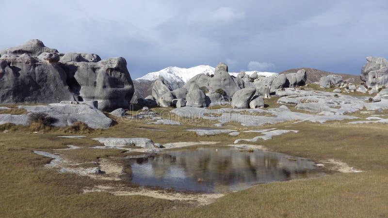Colina del castillo en el paso de Arthurs, Nueva Zelanda imagen de archivo