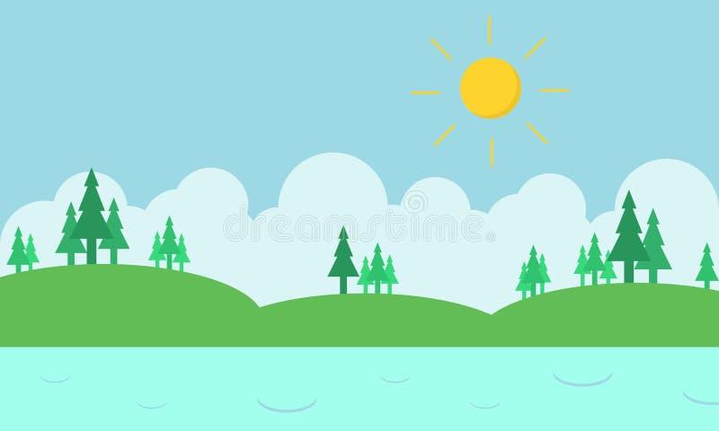 Colina del paisaje y río de la silueta ilustración del vector