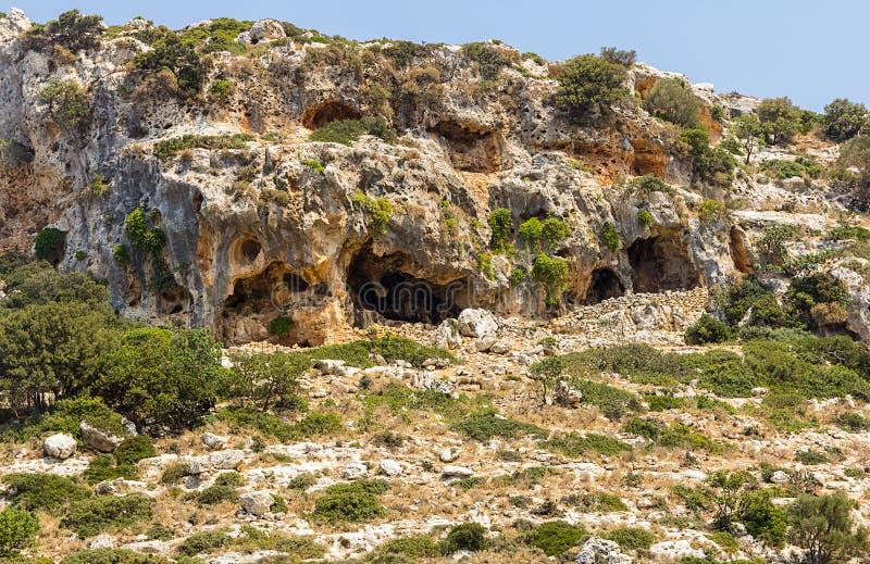 Colina gris resistida de la piedra caliza cubierta con los arbustos verdes imagen de archivo