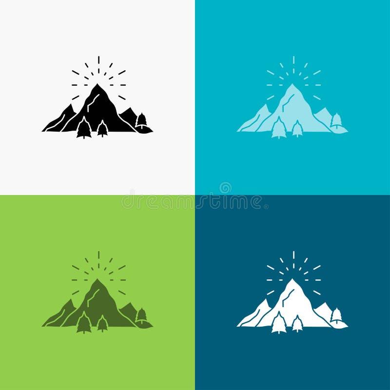 colina, paisaje, naturaleza, monta?a, icono de los fuegos artificiales sobre diverso fondo dise?o del estilo del glyph, dise?ado  libre illustration
