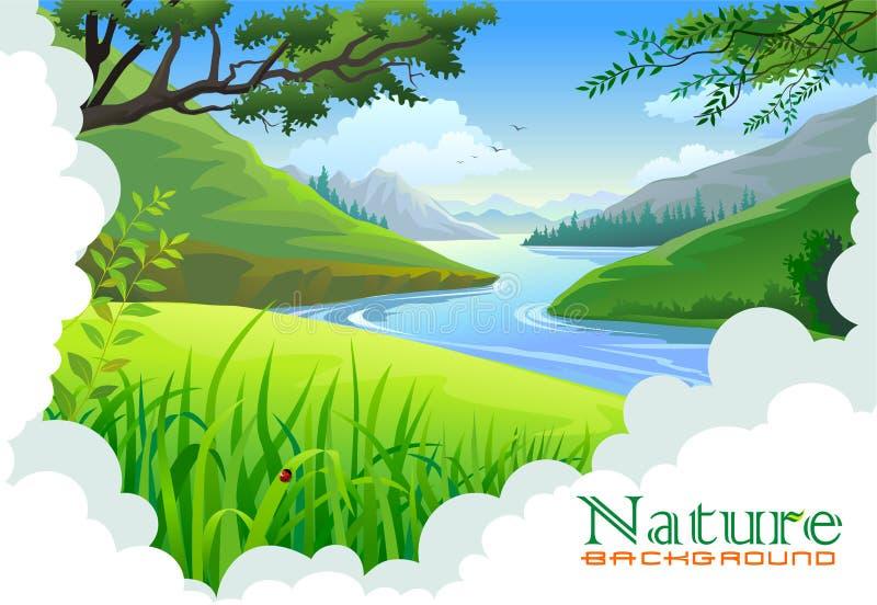 Colinas hermosas y paisaje del río ilustración del vector