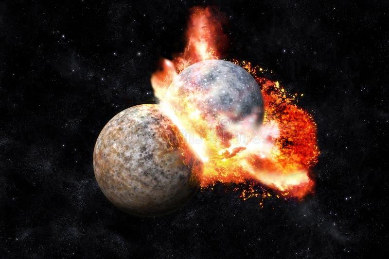 Colisão dos planetas ilustração royalty free