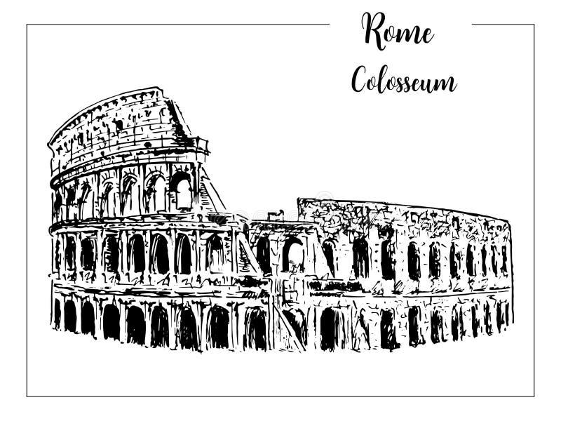 colisé Symbole architectural de Rome Belle illustration tirée par la main de croquis de vecteur l'Italie D'isolement sur le blanc illustration stock
