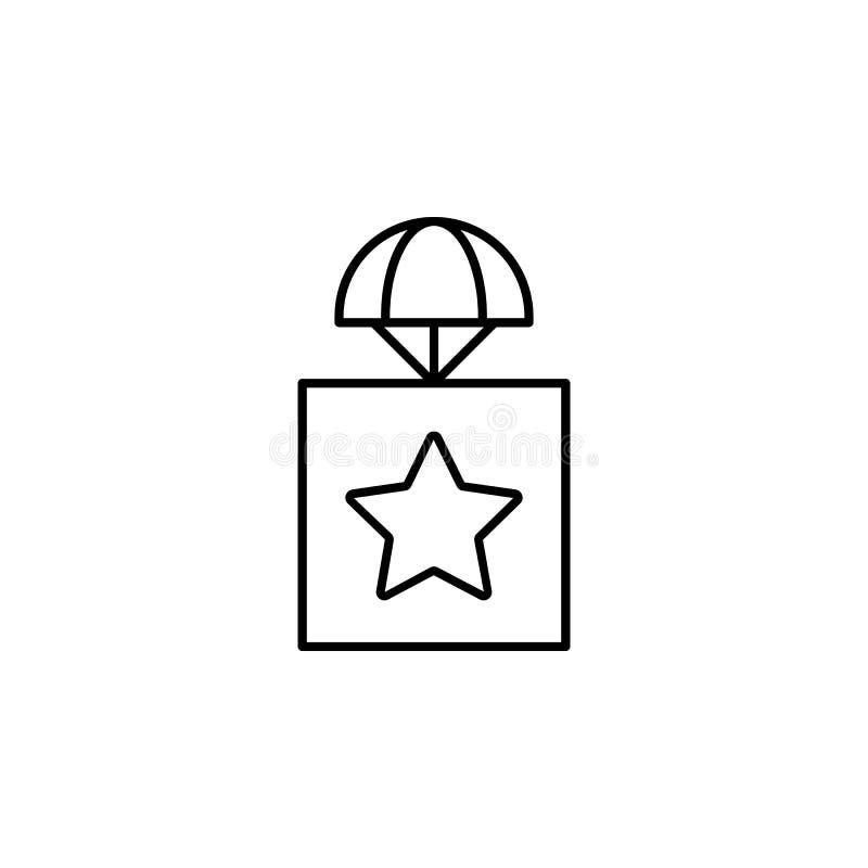 colis avec une icône d'astérisque Élément des bourdons pour l'illustration mobile d'apps de concept et de Web Ligne mince icône p illustration libre de droits