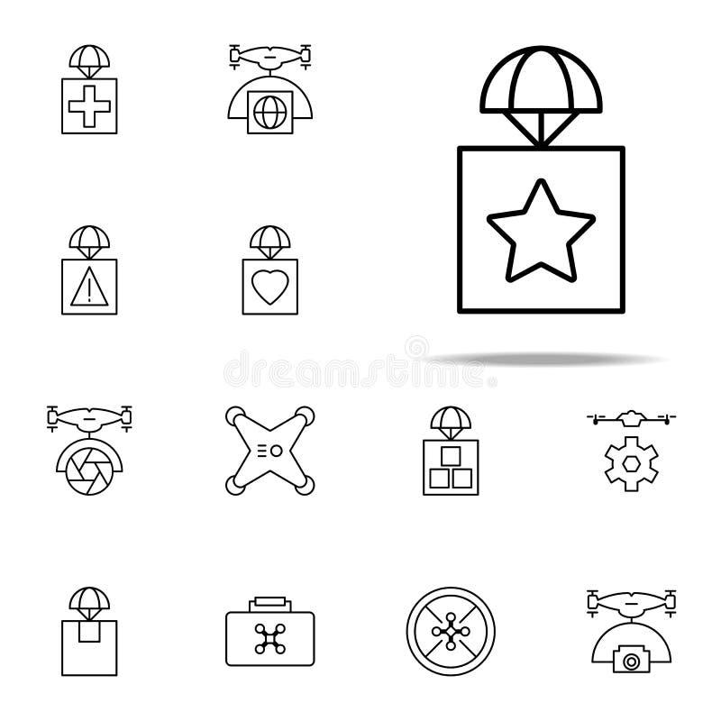 colis avec une icône d'astérisque Ensemble universel d'icônes de bourdons pour le Web et le mobile illustration libre de droits