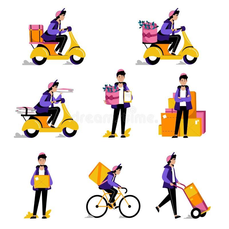 Colis de messager, nourriture ou service de distribution de fleurs Illustrations plates de vecteur Homme avec la boîte de paquet  illustration de vecteur