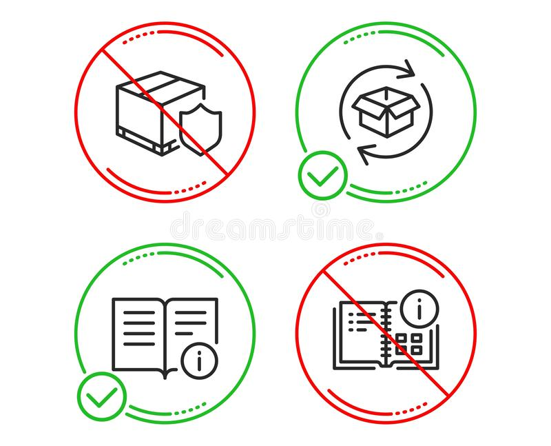 Colis de retour, ensemble d'ic?nes d'assurance de l'information technique et de la livraison Signe de l'information d'instruction illustration libre de droits
