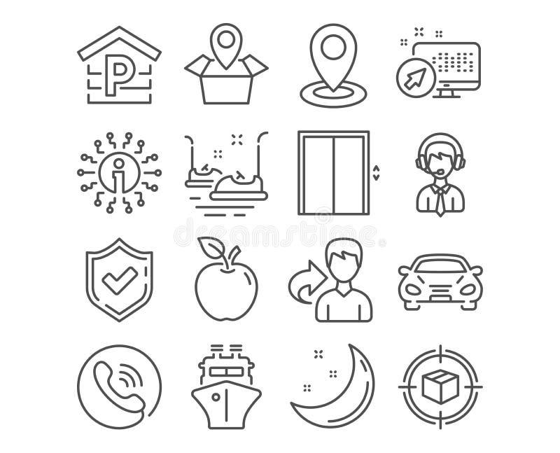 Colis icônes de soutien dépistant, de se garer et embarquer Soulevez, les voitures de butoir et les signes de bateau Vecteur illustration stock