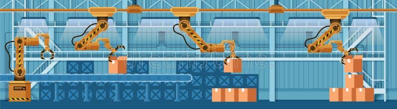Colis robotique automatique de boxe de convoyeur de griffe illustration stock