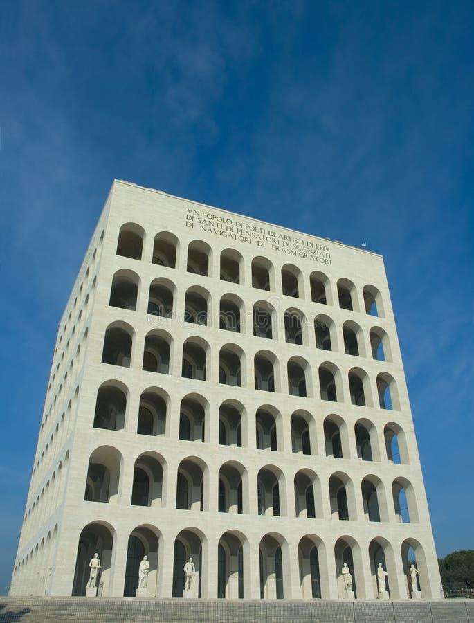 Coliseo cuadrado en el EUR, Roma foto de archivo