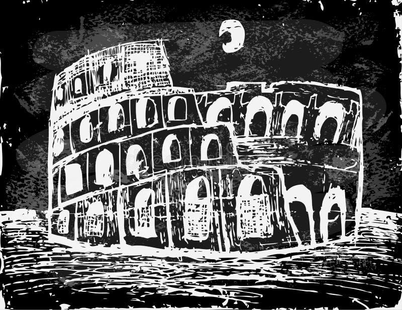 Coliseo en la noche stock de ilustración