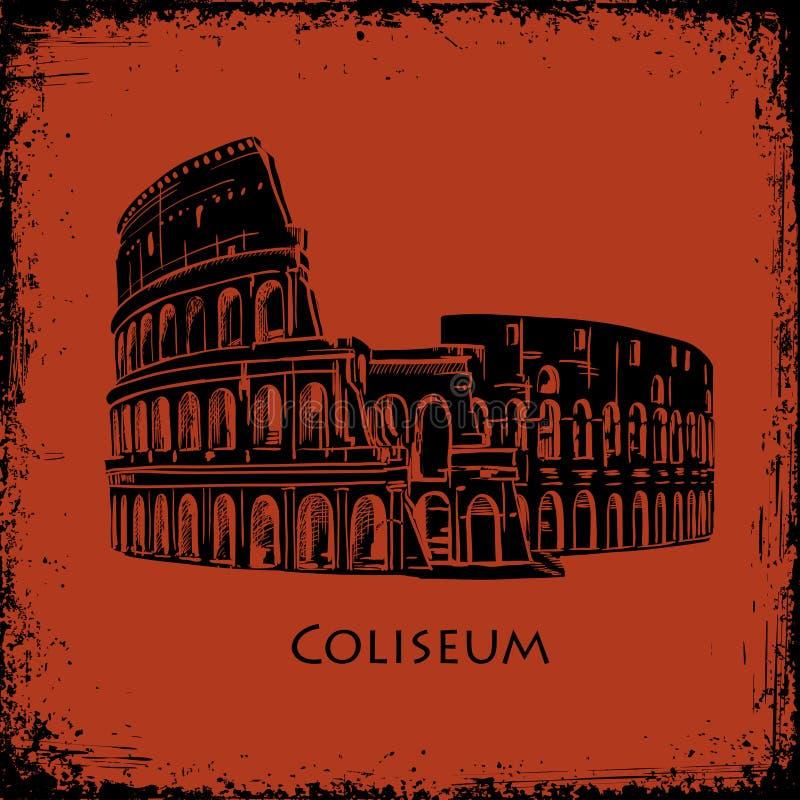 Coliseo en Roma, Italia Ejemplo dibujado mano del vector de Colosseum, el estilo del fondo antiguo de la pintura del florero libre illustration
