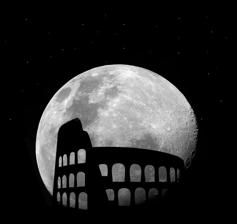 Coliseu de Roma na noite com lua ilustração stock