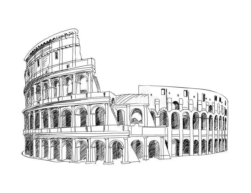 Coliseu em Roma, Italy ilustração do vetor