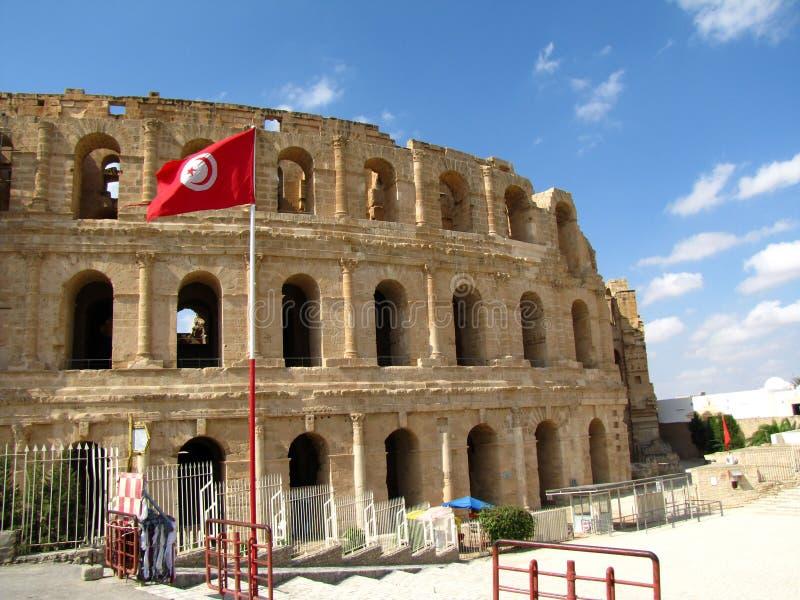 Coliseu em Tunísia imagens de stock