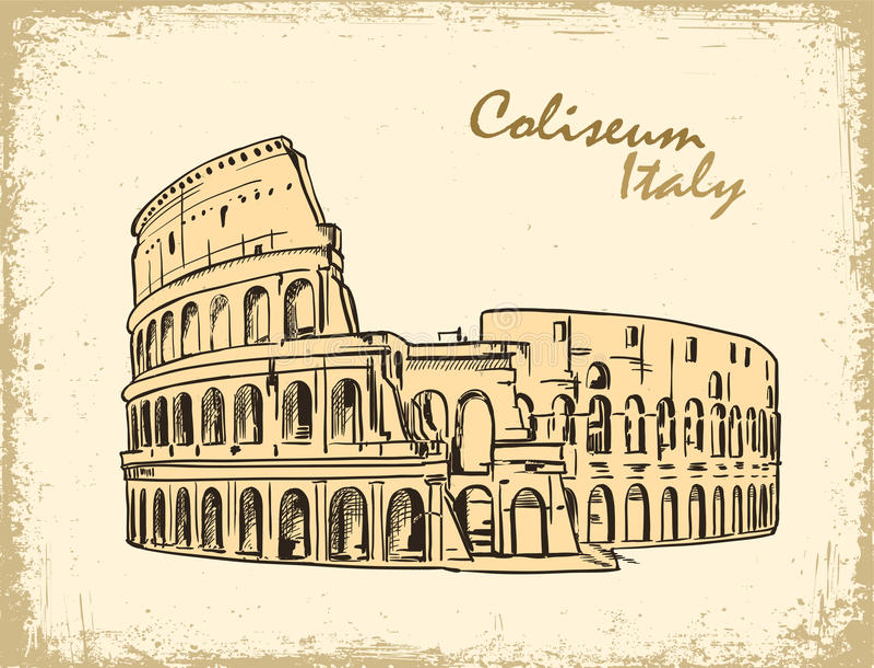coliseum Ιταλία Ρώμη Συρμένη χέρι διανυσματική απεικόνιση Colosseum απεικόνιση αποθεμάτων