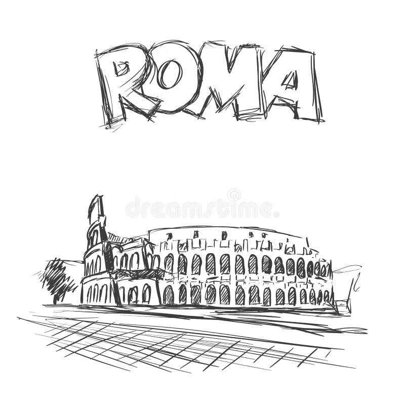 coliseum Ρωμαίος Θέα στη Ρώμη, Ιταλία Συρμένο χέρι διανυσματικό σκίτσο με το κείμενο τίτλων της Ρώμης απεικόνιση αποθεμάτων