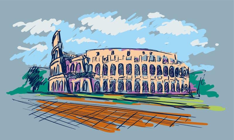 coliseum Ρωμαίος Θέα στη Ρώμη, Ιταλία Συρμένο χέρι διανυσματικό σκίτσο χρώματος διανυσματική απεικόνιση