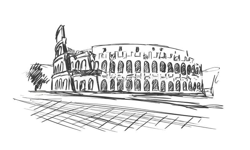 coliseum Ρωμαίος Θέα στη Ρώμη, Ιταλία Συρμένο χέρι διανυσματικό σκίτσο διανυσματική απεικόνιση