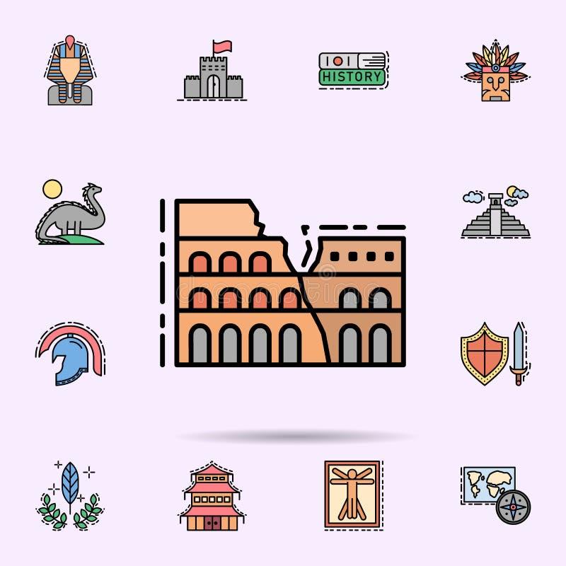 coliseum, ρωμαϊκό, μνημειακό εικονίδιο Καθολικό σύνολο ιστορίας για το σχέδιο ιστοχώρου και ανάπτυξης, app ανάπτυξη ελεύθερη απεικόνιση δικαιώματος
