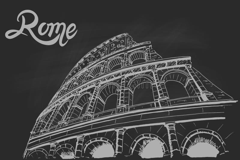 Coliseum στο μαύρο πίνακα κιμωλίας Ρώμη Ιταλία απεικόνιση αποθεμάτων