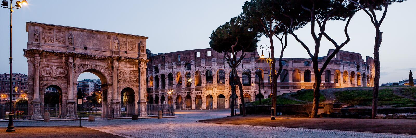 Coliseum and arch in Rome. Italy royalty free stock photo