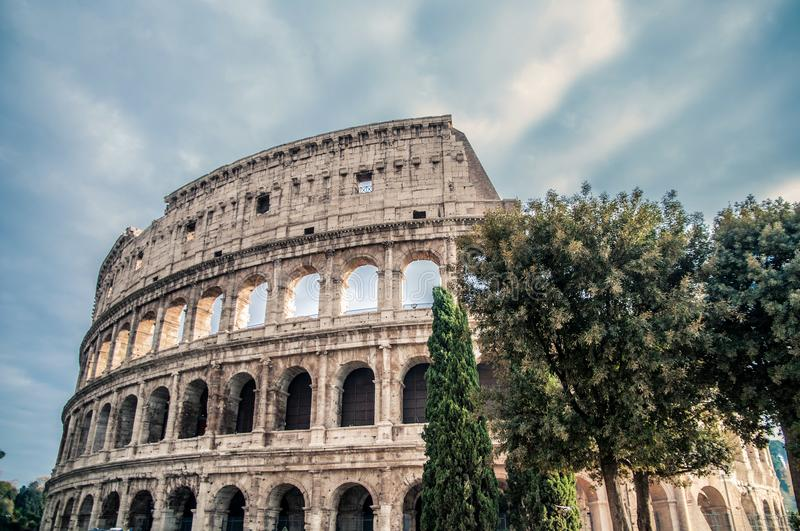 Coliseum arena in Rome, amphitheater in Rome capital, Italy. Coliseum arena Rome, arcs in Rome, ancien arc, ancien ruins, historic building of the capital, Rome stock images