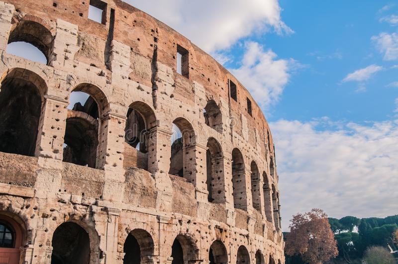 Coliseum arena in Rome, amphitheater in Rome capital, Italy. Coliseum arena Rome, arcs in Rome, ancien arc, ancien ruins, historic building of the capital, Rome stock photo