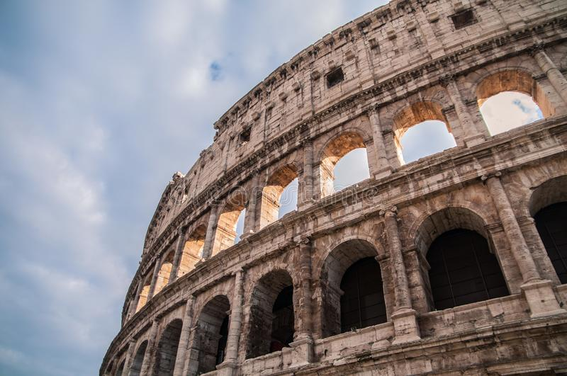 Coliseum arena in Rome, amphitheater in Rome capital, Italy. Coliseum arena Rome, arcs in Rome, ancien arc, ancien ruins, historic building of the capital, Rome royalty free stock photography