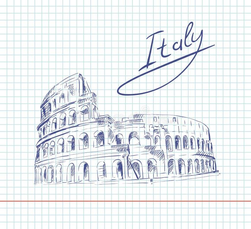 coliseum Atrações de Itália ilustração do vetor